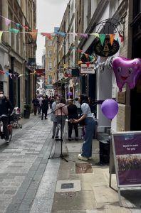 Guests of the Bow Bells Association Street Party enjoyed live music performances